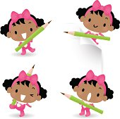 Vector illustration - Cute Baby Girl Holding Pencil.