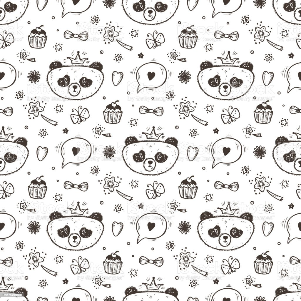 Cute Baby girl Panda Vector Seamless pattern. Endless wallpaper with Princess Pandas. Hand Drawn Doodle Funny Black and White Bear.