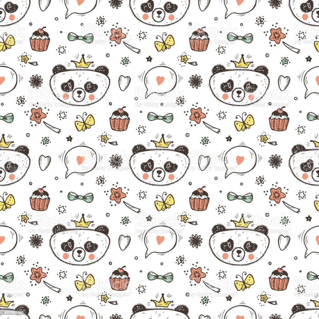 Cute Baby Girl Panda Vector Seamless Pattern Endless Wallpaper