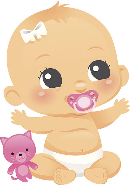 Cute Baby Girl An adorable baby girl with her kitty stuffed toy and binky. Her bow, kitty, and binky are on separate layers. Under her removable binky she is smiling. heyheydesigns stock illustrations