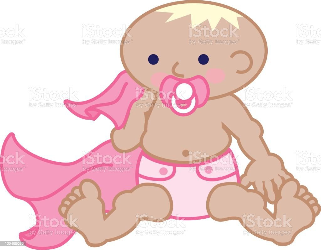 Cute baby girl with a pacifier and blanket royalty-free cute baby girl with a pacifier and blanket stock vector art & more images of baby
