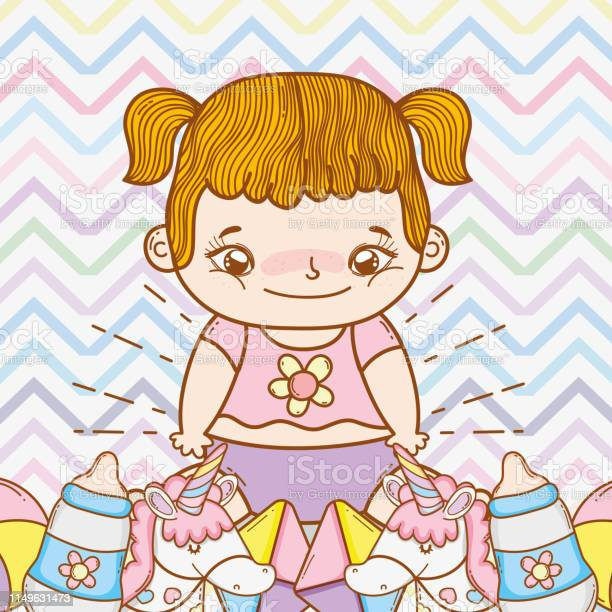 面白いおもちゃでかわいい女の赤ちゃん おもちゃのベクターアート素材や画像を多数ご用意 Istock