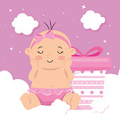 cute baby girl with gift box and clouds decoration vector illustration design