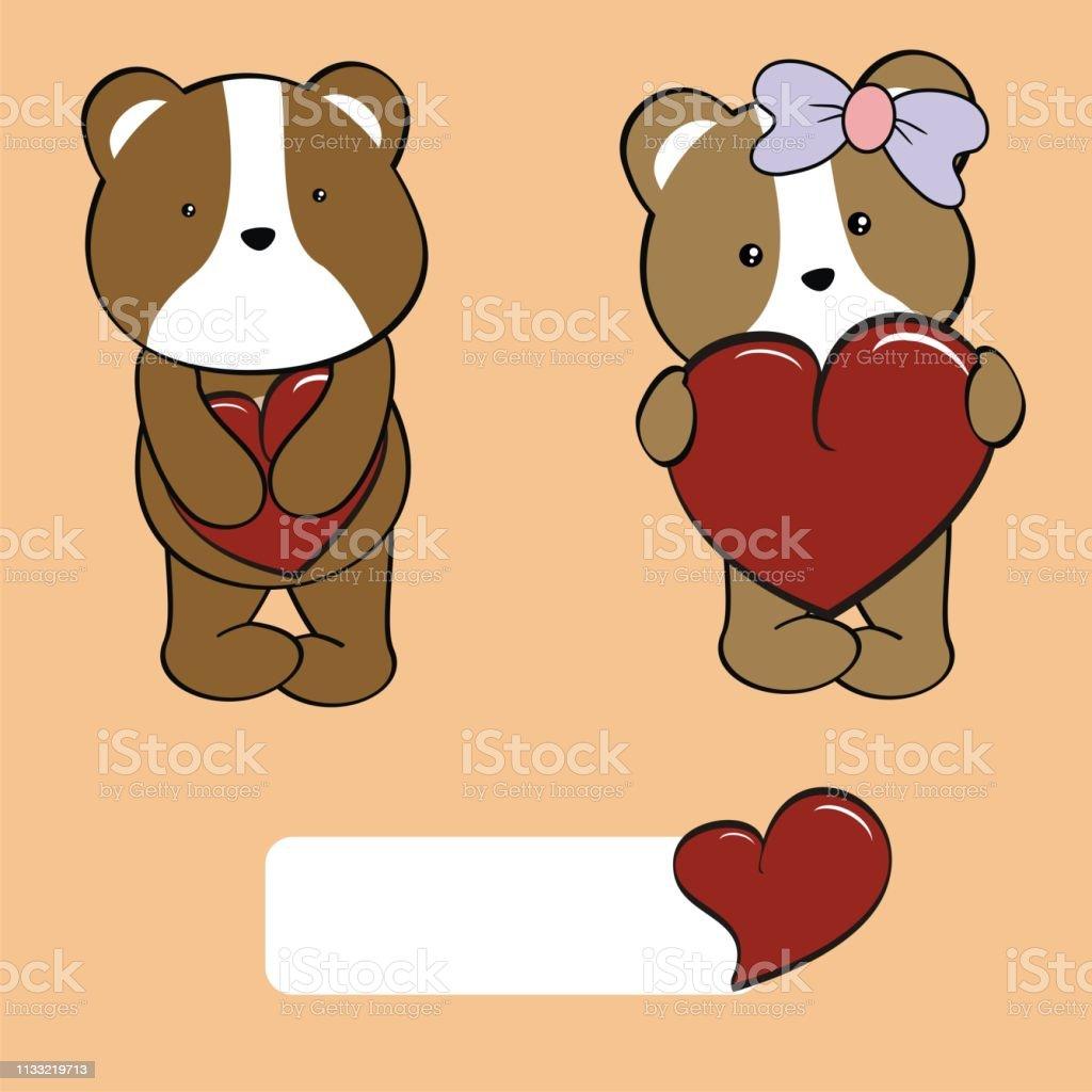 Cute Baby Hamster Kawaii Cartoon Valentine Collection Stock