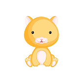 Cute baby hamster sitting isolated on white background. Adorable animal character for design of album, scrapbook, card, invitation on baby shower, party. Flat cartoon colorful vector illustration.