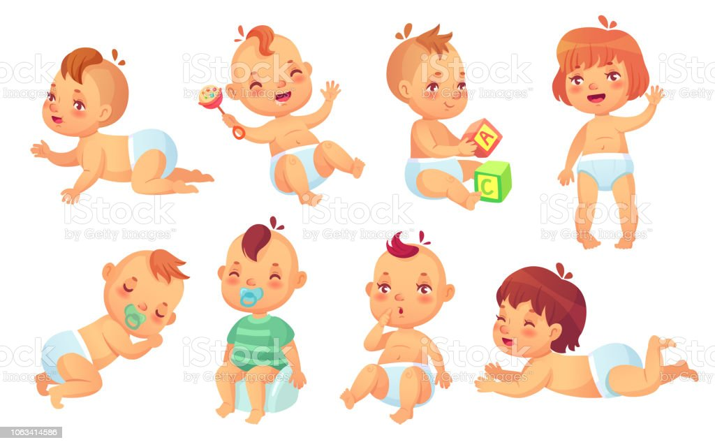 Cute Baby Happy Cartoon Babies Smiling And Laughing Toddler Isolated - Toddler-cartoon-characters