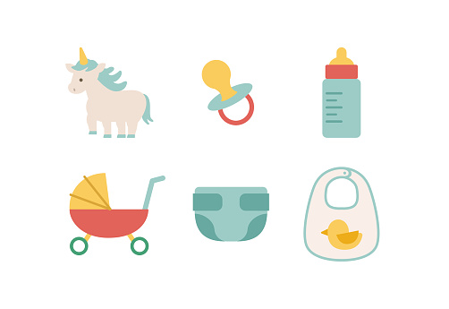 Cute baby icons. Pacifier, diaper, baby bottle and stroller.
