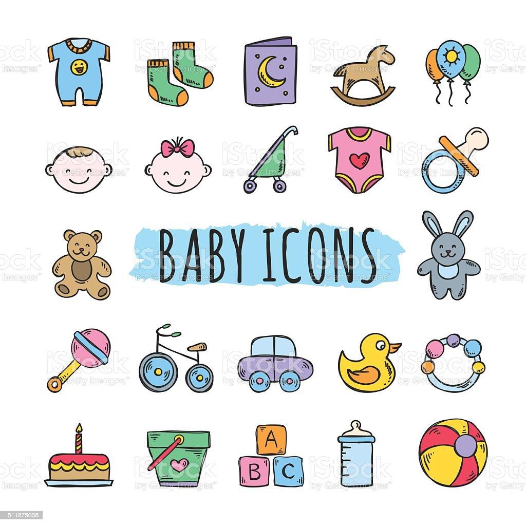 Baby Symbole Niedlich Vektorspielzeug Für Babys Und Kinder Symbole ...