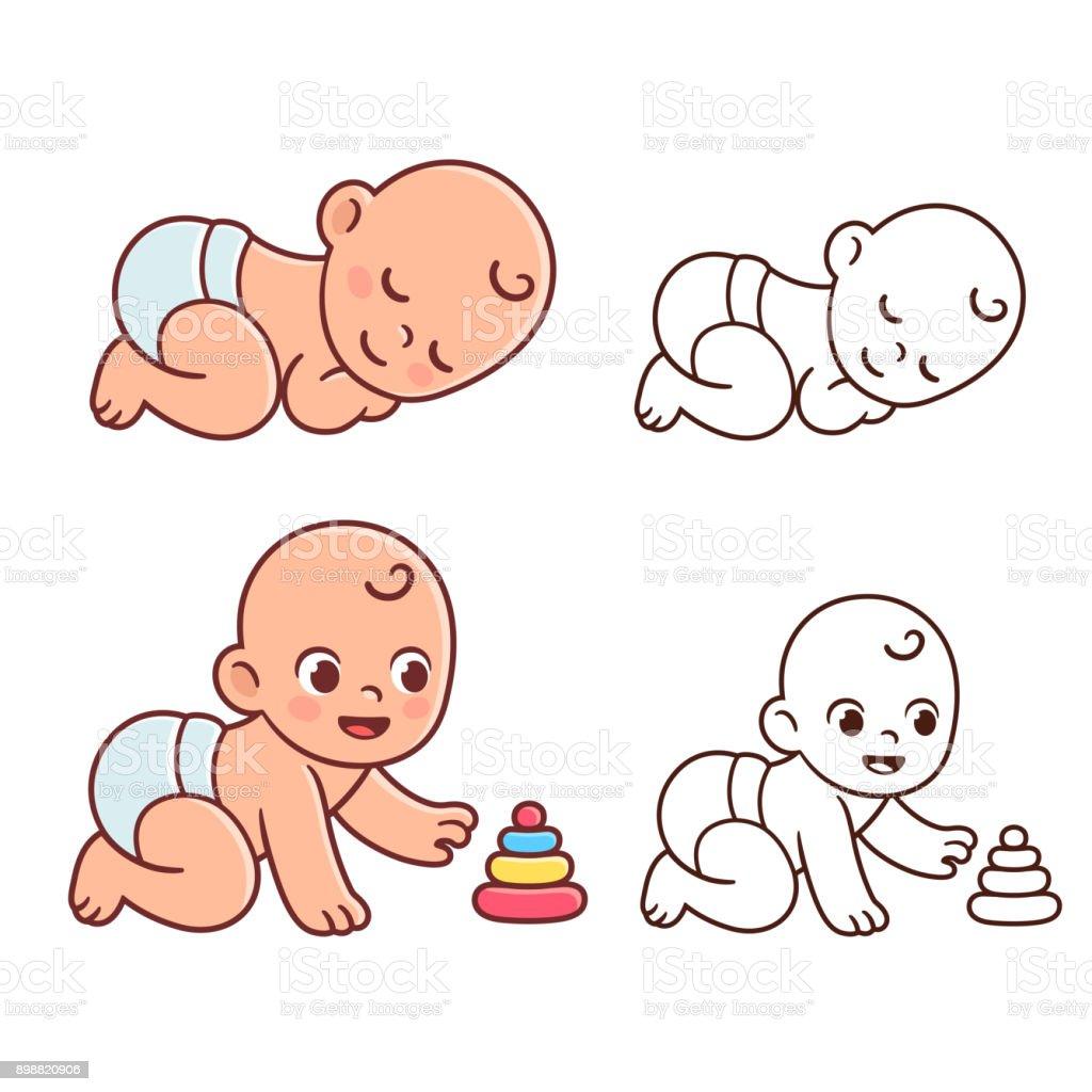 かわいい赤ちゃんイラスト セット - おむつのベクターアート素材や画像を