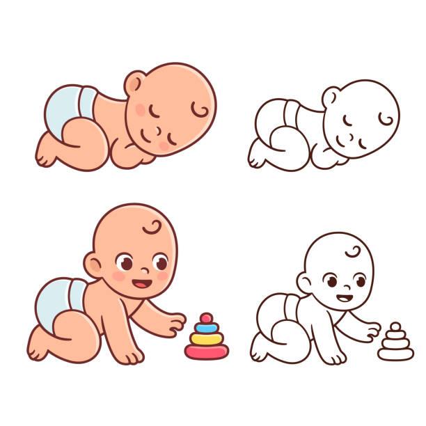 ilustrações, clipart, desenhos animados e ícones de conjunto de ilustração de bebê fofo - bebês