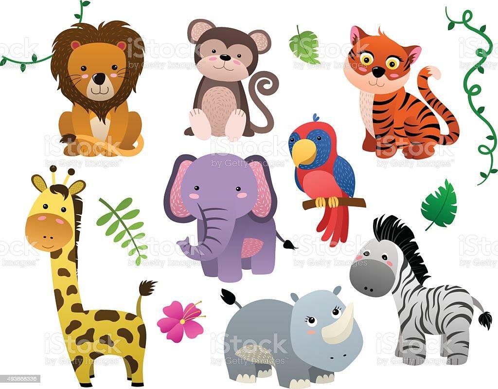 かわいい動物の赤ちゃんとジャングルのベクトルセット のイラスト素材