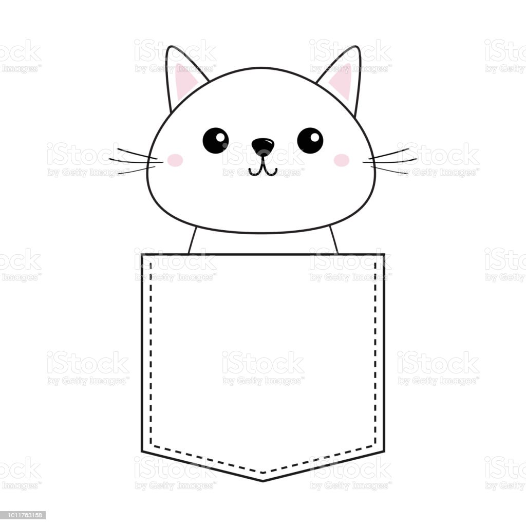 Cute Baby Kitten Sitting In The Pocket Pink Cheeks Doodle Contour Linear Sketch Cartoon Pet Animals Cat Kitty Character Dash Line Tshirt Design White Background Flat Stock Illustration Download Image Now