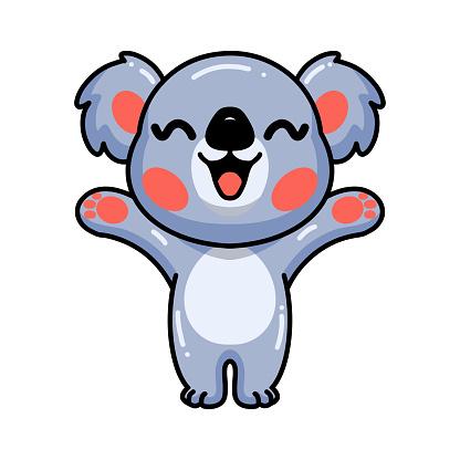 Cute baby koala cartoon raising hands