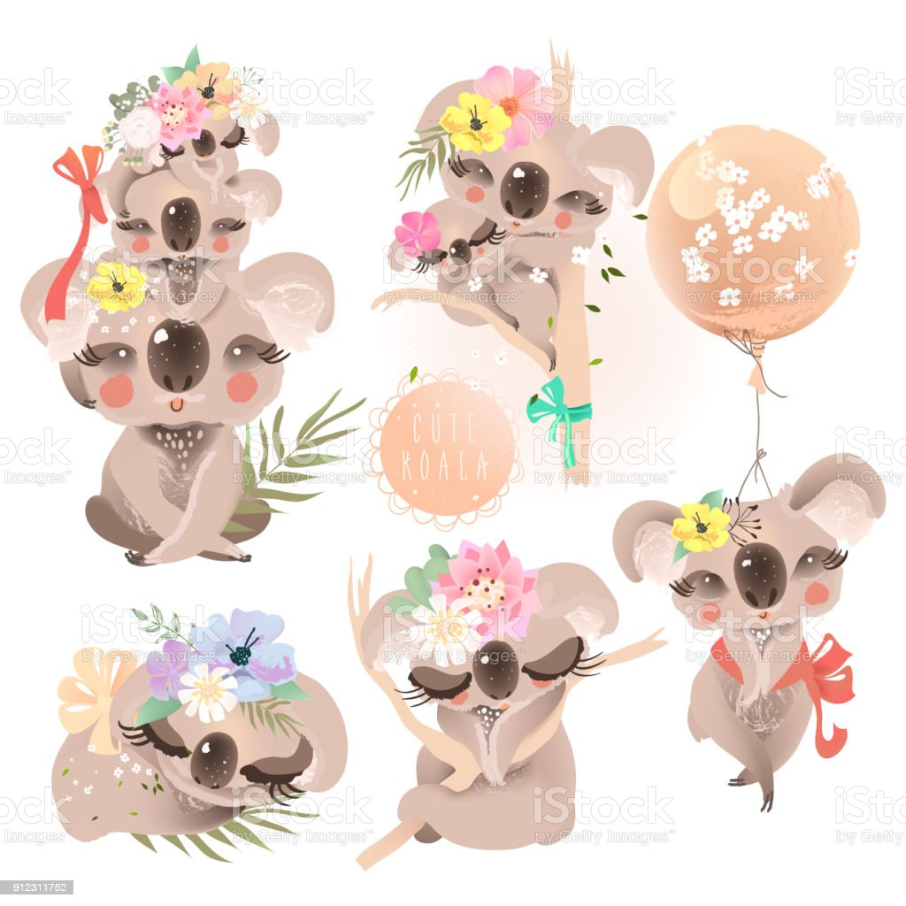 Cute baby koalas (coala) with flowers, floral wreath, bouquet, balloon and tied bows collection, set. Adorable baby animals vector art illustration