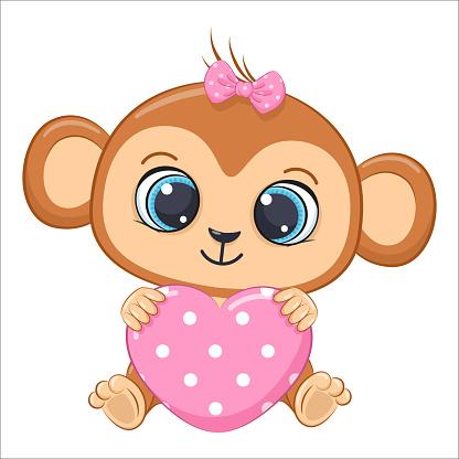 Cute baby monkey with a heart. Cartoon vector illustration.