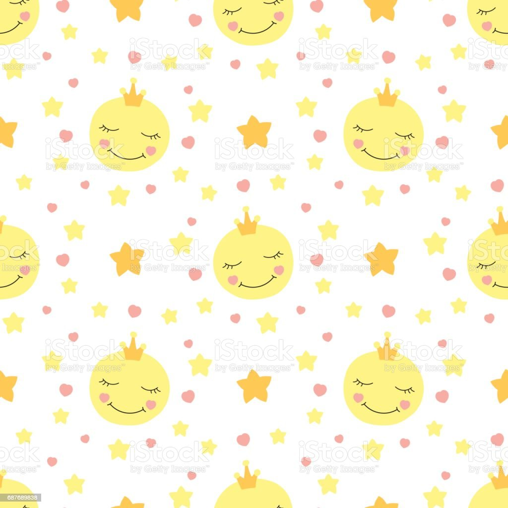 Cute Baby Moon Pattern Vector Seamless Royalty Free Stock