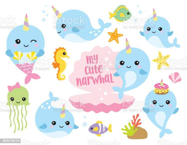 Cute baby narwhal or whale unicorn with other sea animals vector id943476124?b=1&k=6&m=943476124&s=612x612&h=qdy8f4c9cc sma9xnf55ktt6xgkpgv2r1lyxbflkkns=