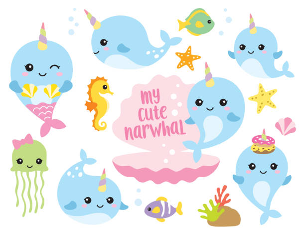 Cute Baby Narwhal or Whale Unicorn with Other Sea Animals Vector illustration of cute baby narwhal or whale unicorn characters with fishes, seahorse, jellyfish, starfishes, and shells. sea horse stock illustrations
