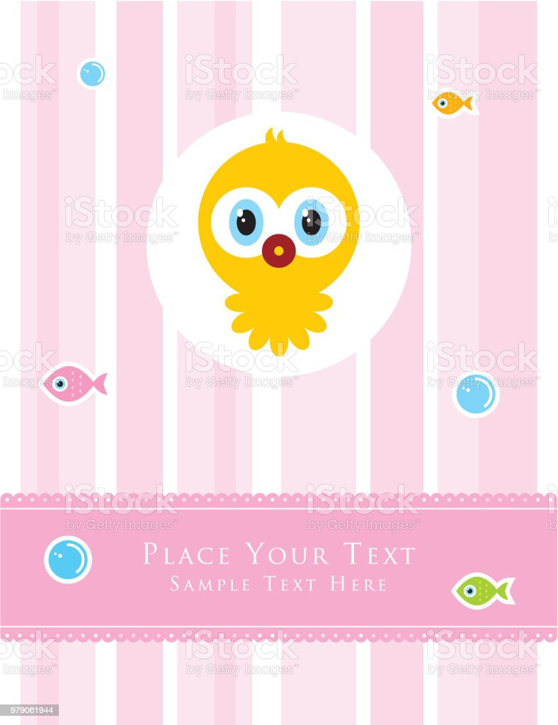 Cute Baby Octopus Baby Shower Card Vector Stock Illustration