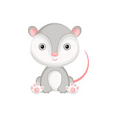 Cute baby opossum sitting isolated on white background. Adorable animal character for design of album, scrapbook, card, invitation on baby shower, party. Flat cartoon colorful vector illustration.