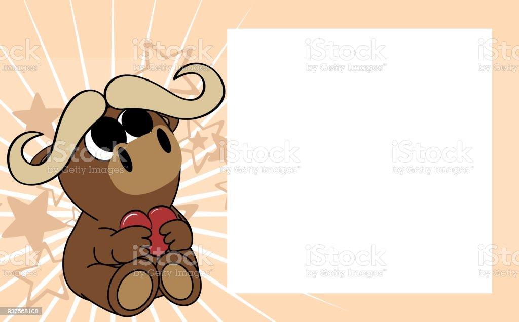 Niedliche Baby Ochsen Valentine Bild Rahmenhintergrund Stock Vektor ...