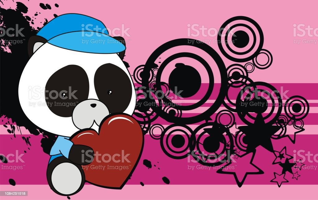 Joli Bébé Ours Panda Kawaii Style Dessin Animé Fond Vecteurs