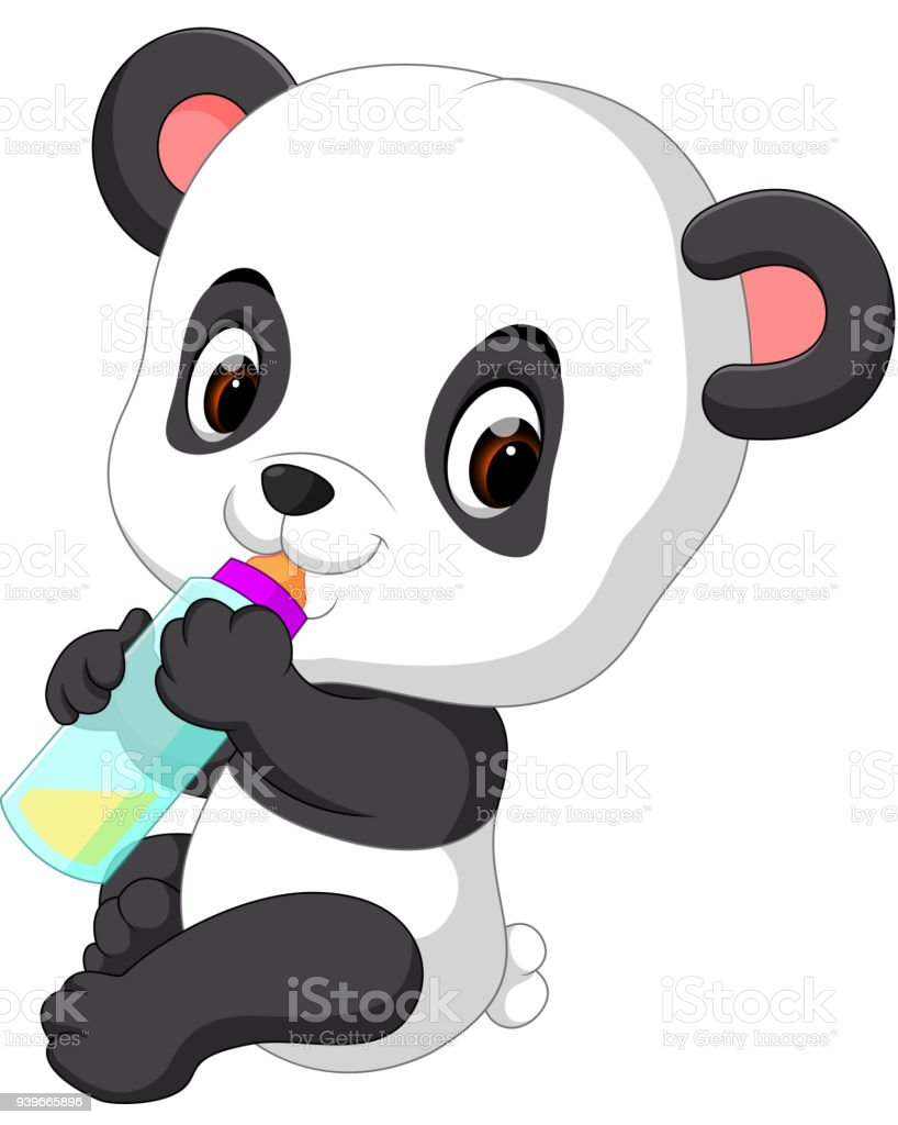 Cute Baby Panda Holding Milk Bottle Stock Vector Art More Images
