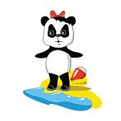 Cute baby panda on the beach with sea wave and sand, vector illustration in cartoon style