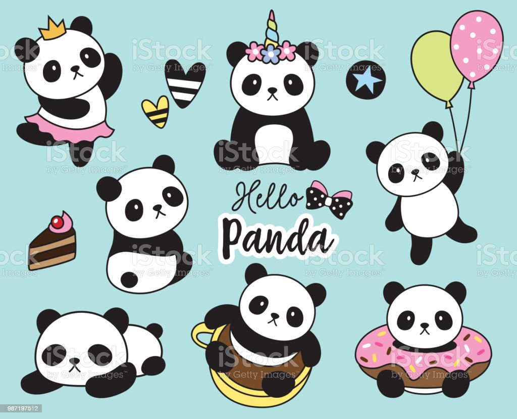 cute baby panda vector illustration stock vector art more images