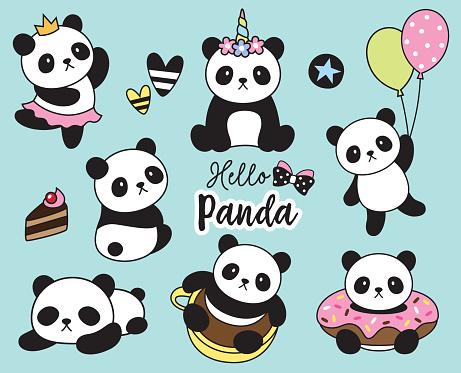 Cute Baby Panda Vector Illustration