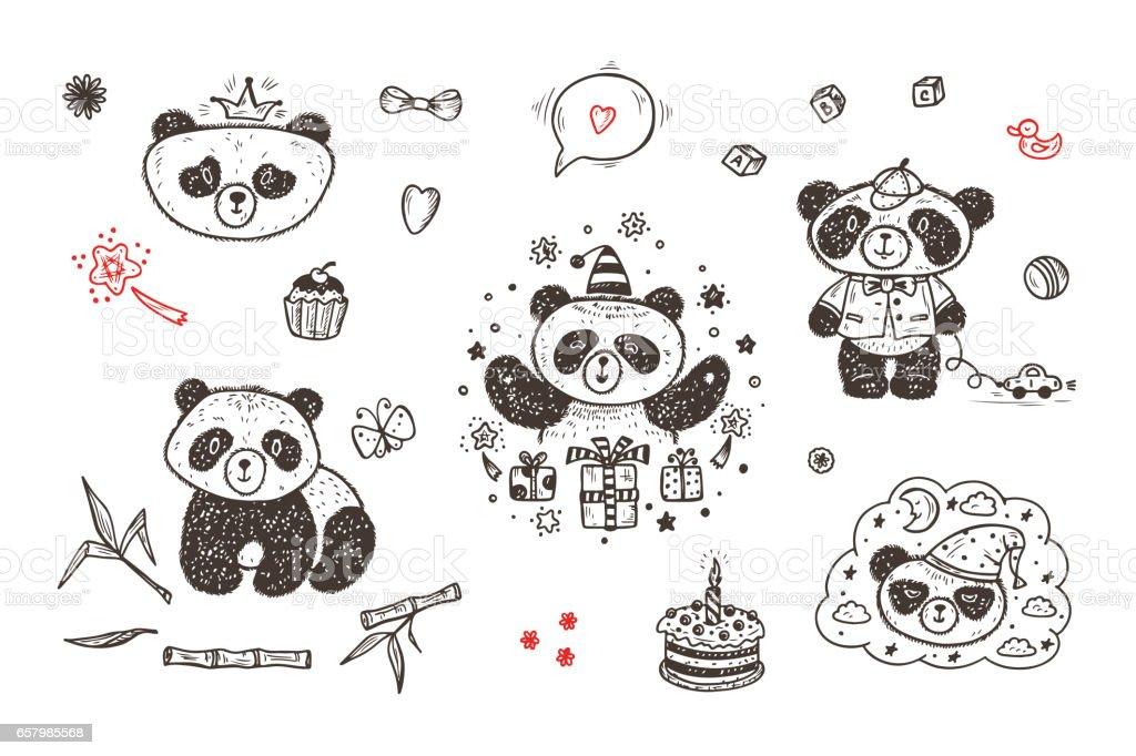 Ilustración de Panda Lindo Bebé Vector Conjunto Personajes De ...