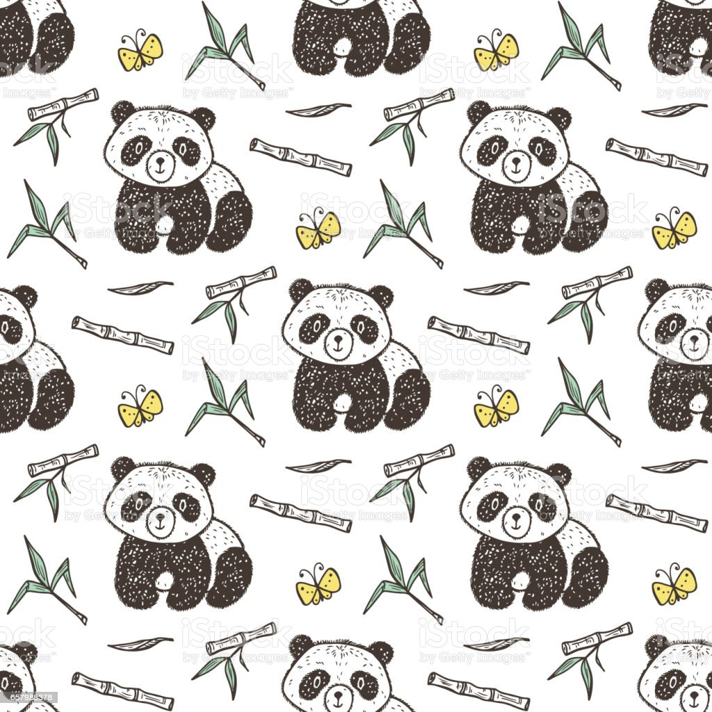 Cute Baby Panda With Bamboo Vector Seamless Pattern Endless