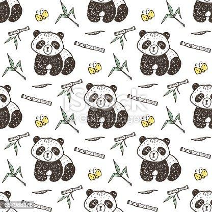 Ilustración de Lindo Bebé Panda Con Patrón Transparente De Vector De ...