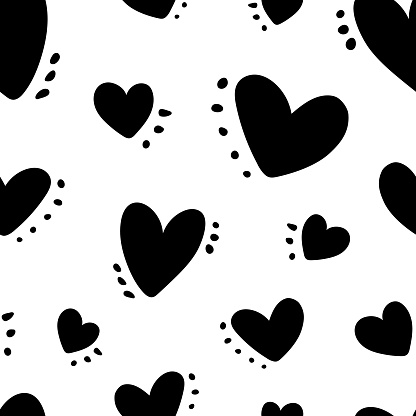Cute baby pattern with black hearts and spots, dots, love texture, romantic print, simple hand drawn children's print.