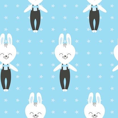 Cute baby pattern with little bunny. Cartoon animal boy print vector seamless. Blue background with rabbit in bowtie for children pajamas, t-shirt, nursery art, diaper fabric or kids birthday party.