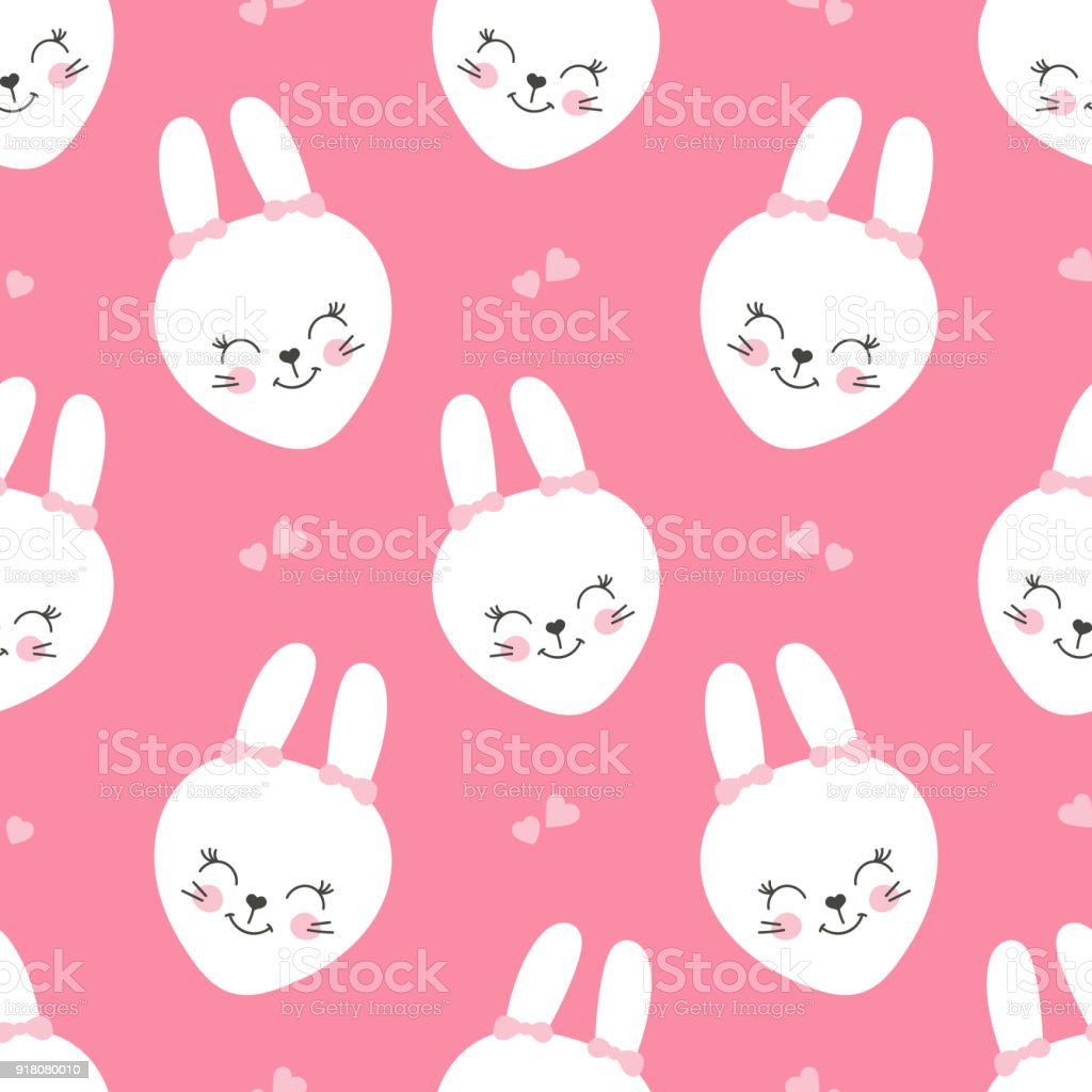 cute baby pattern with little bunny cartoon animal girl print vector
