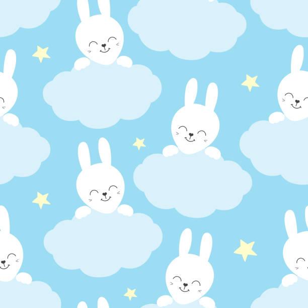 Modèle de bébé mignon avec petit lapin. Les animaux enfants dessin animé impriment vecteur transparente. Fond doux avec le lapin blanc et les nuages pour tissu enfants, textile à la maison, pépinière affiche ou une fête d'anniversaire. - Illustration vectorielle