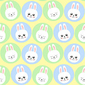 Cute baby pattern with little bunny. Cartoon animal kids print vector seamless. Funny background for spring card, easter egg hunt party invite, children pajamas fabric, nursery bedroom textile.