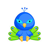 Cute baby peacock sitting isolated on white background. Adorable animal character for design of album, scrapbook, card, invitation on baby shower, party. Flat cartoon colorful vector illustration.