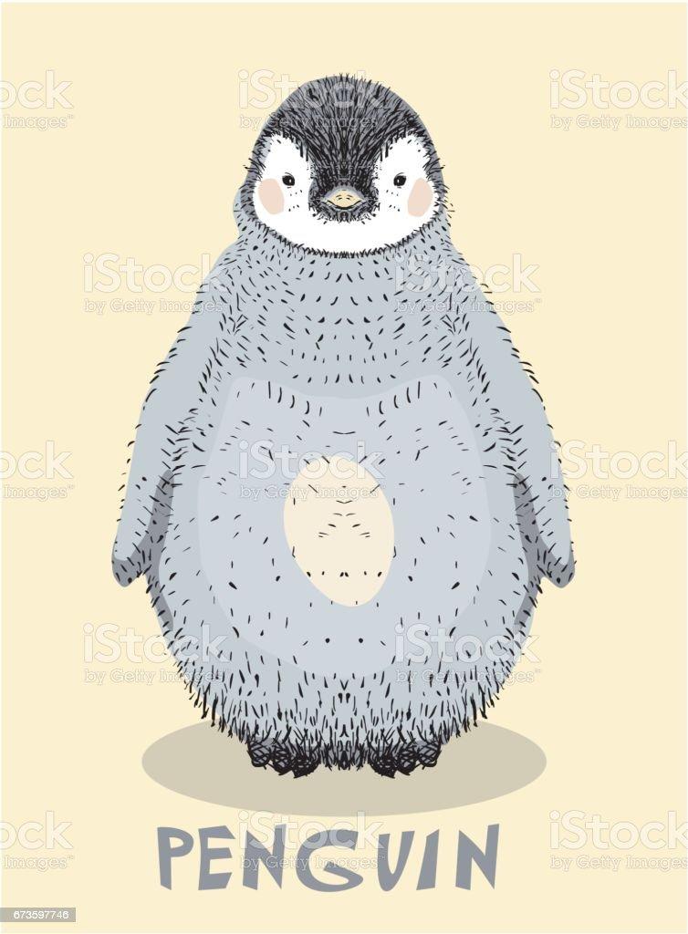 Cute baby penguin vector art illustration