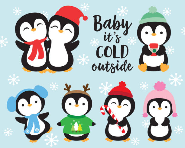 cute baby penguins in winter vector - penguin stock illustrations