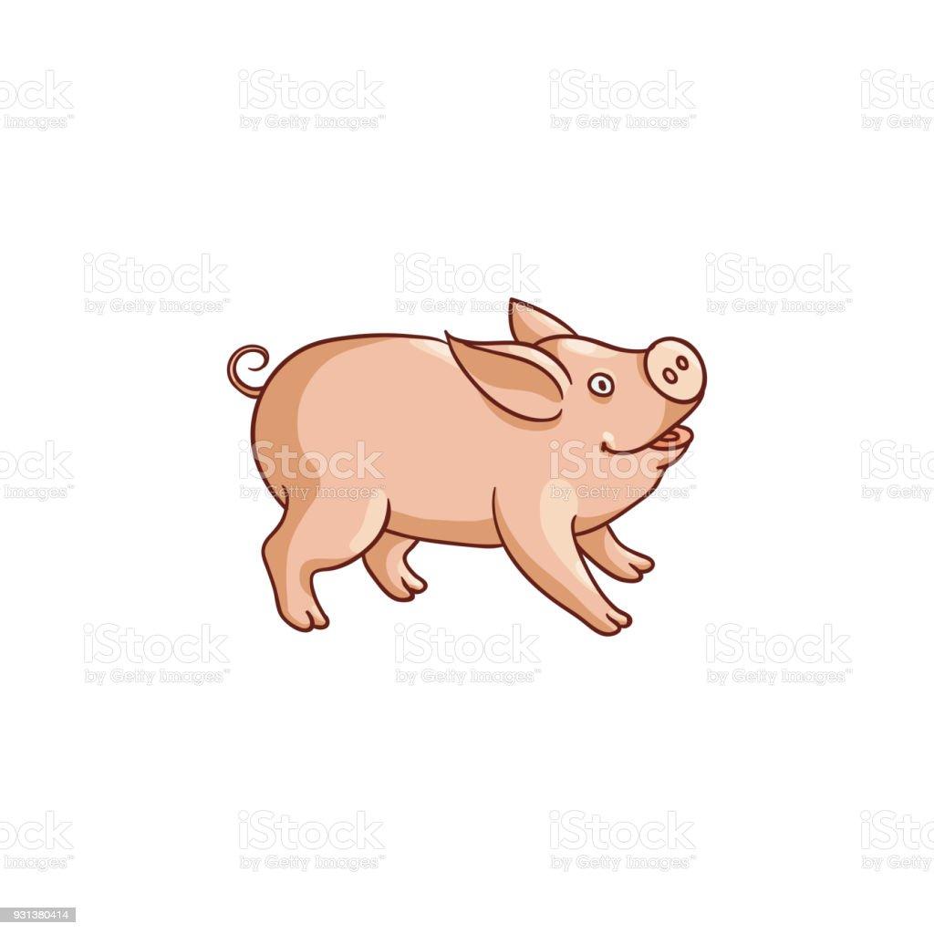 Ilustración de Lindo Bebé Cerdo Ilustración De Dibujos Animados ...