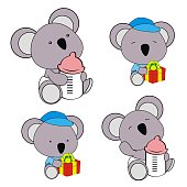 cute baby plush animals cartoon sitting collection set in vector format