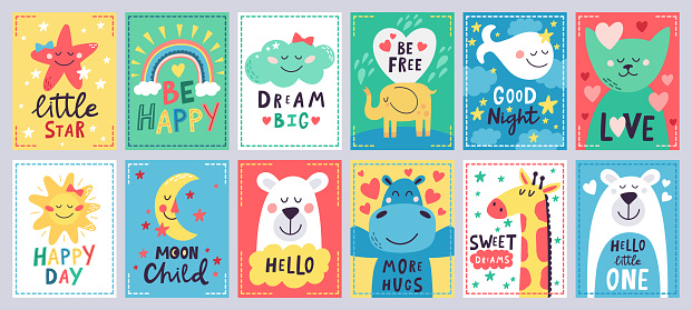 Cute baby poster. Kids play room, nursery or baby shower hand drawn cards, cute animals, moon and little star isolated vector illustration set