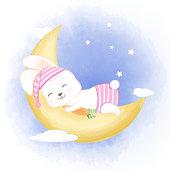 Cute baby rabbit sleeping on moon hand drawn cartoon animal watercolor illustration