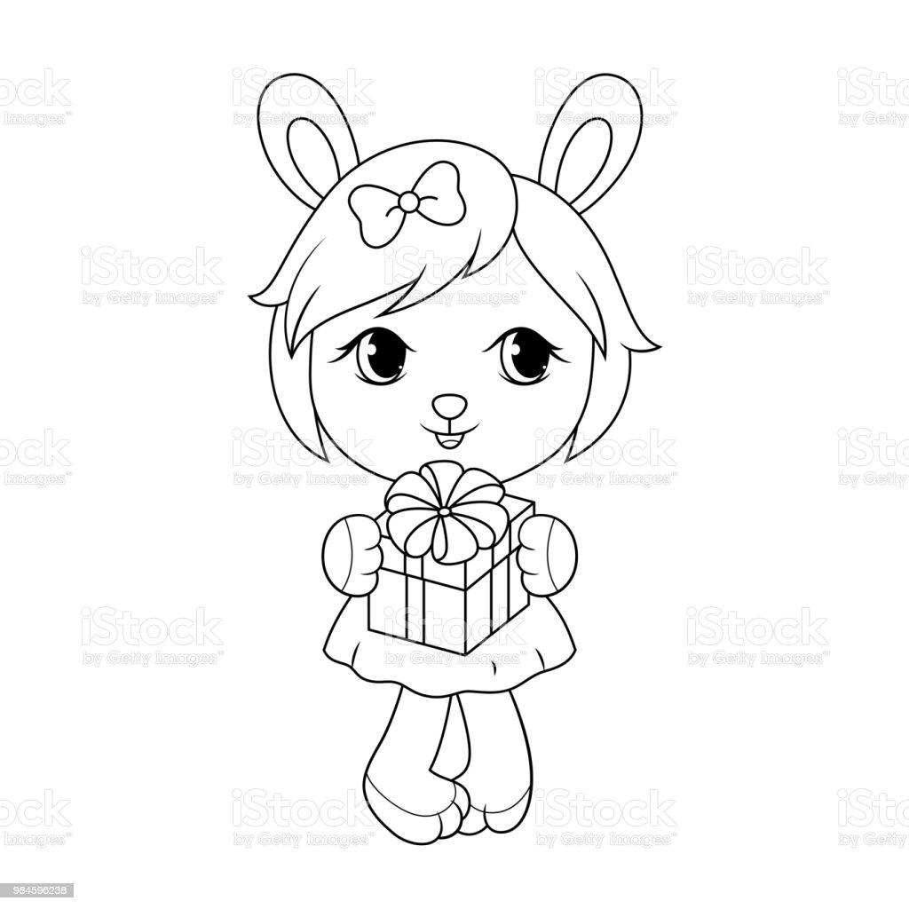 Ilustración de Lindo Conejo Niña En Vestido Caja De Regalo Página De ...