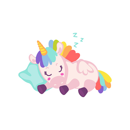 Cute baby rainbow unicorn sleeping - cartoon magic animal on a pillow