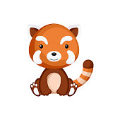 Cute baby red panda sitting isolated on white background. Adorable animal character for design of album, scrapbook, card, invitation on baby shower, party. Flat cartoon colorful vector illustration.