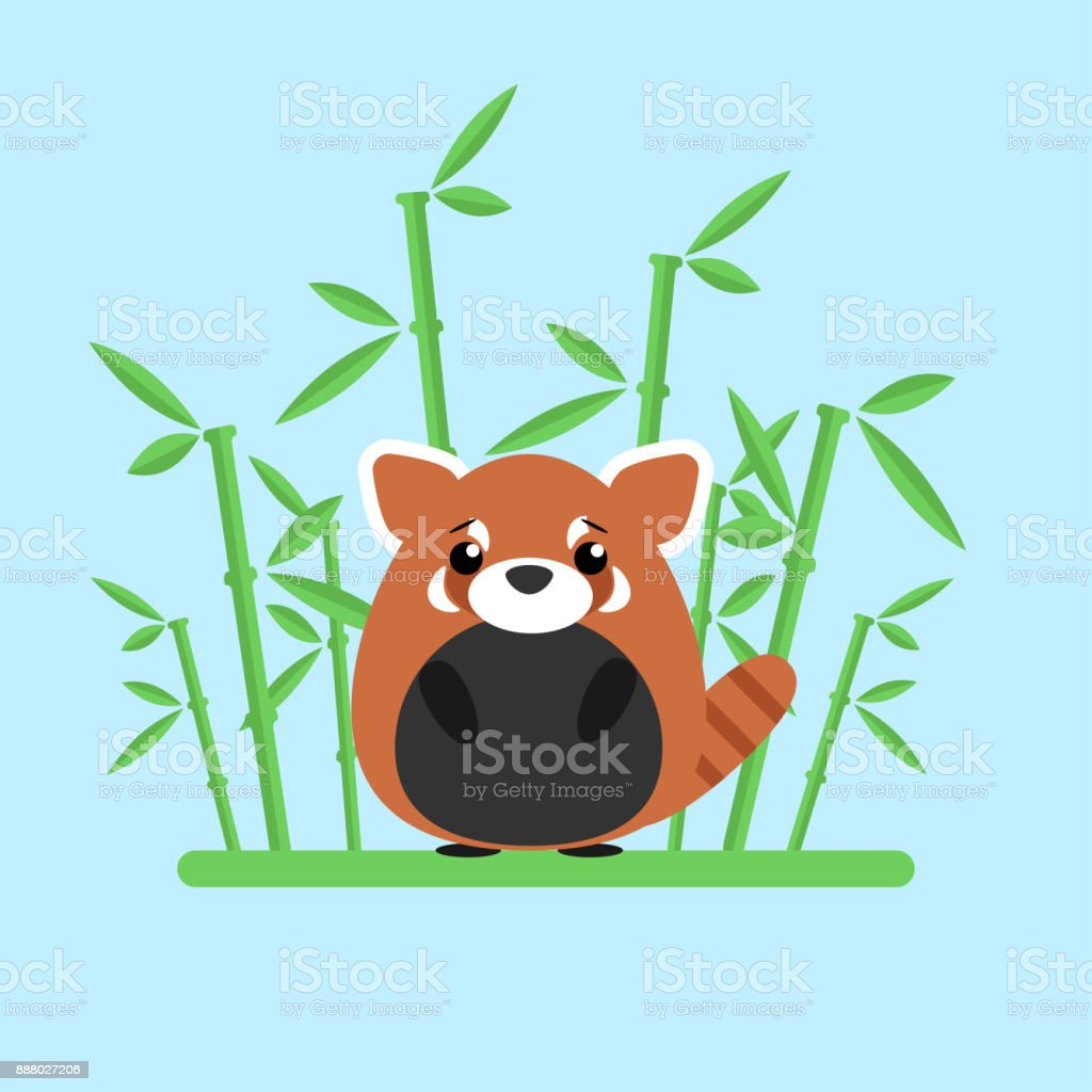 Cute Baby Red Panda Standing Between The Bamboo On Blue Background Stock Illustration Download Image Now Istock