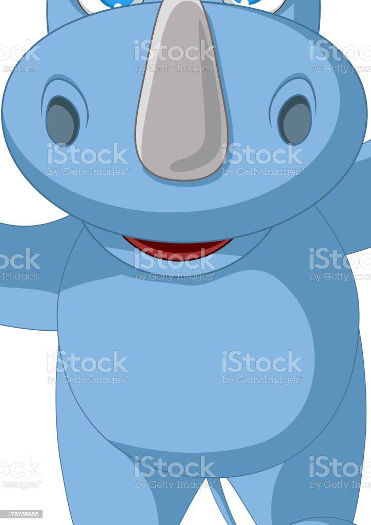 cute baby rhino cartoon posing royalty-free stock vector art